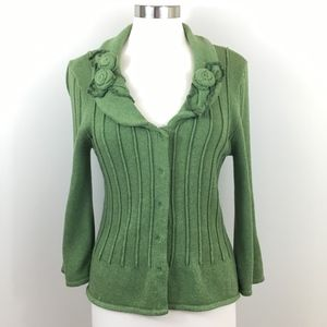 CAbi Green Cotton Sweater with Appliques - M -
